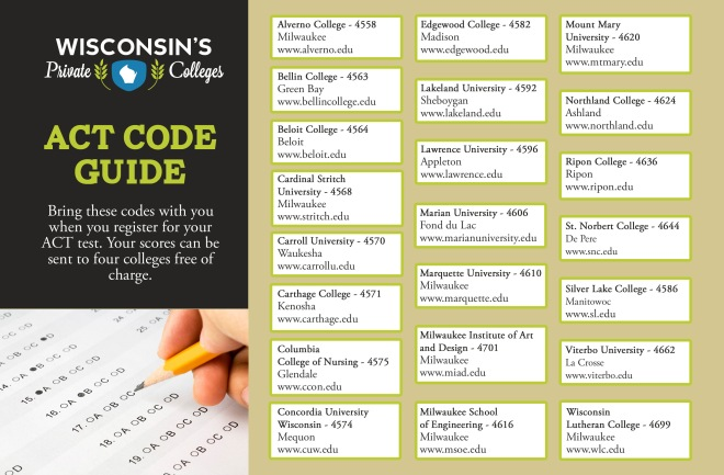 ACT Codes for Colleges in Wisconsin