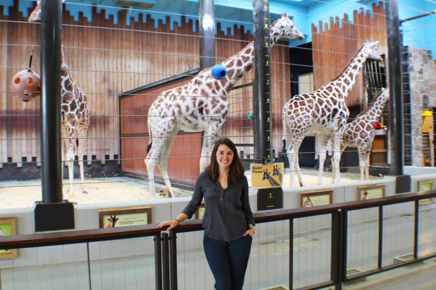 Martinson with giraffes